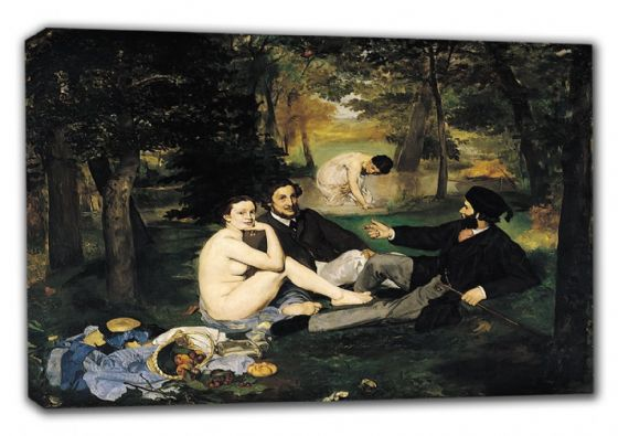 Manet, Edouard: Luncheon on the Grass (Le Déjeuner sur l'herbe). Fine Art Canvas. Sizes: A3/A2/A1 (00513)